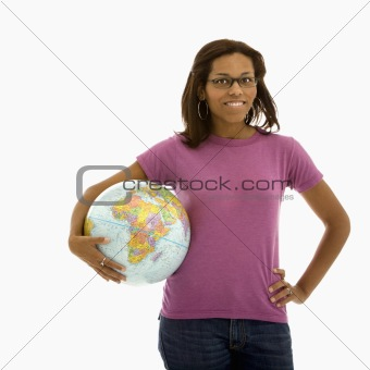 Woman holding world.
