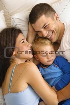 Family cuddling.