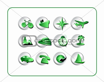 Travel Icon Set - Green-Silver