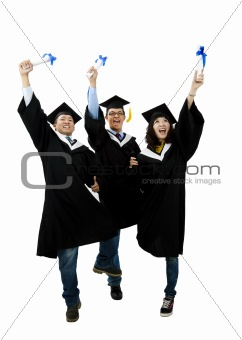 group of graduation students isolated on white background