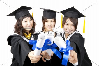 three graduation asian girls holding their diploma