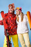 Happy skiers