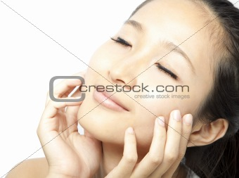 Close up portrait of young beautiful woman's face