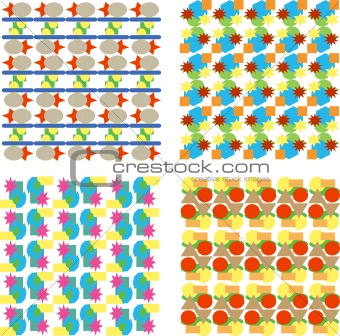 set of seamless floral background pattern