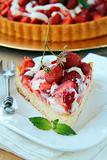 Plate with homemade strawberry tart