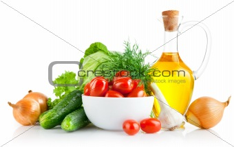 set fresh vegetables with olive oil