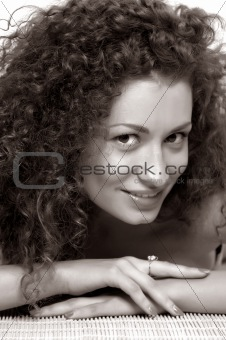 young woman with a happy face