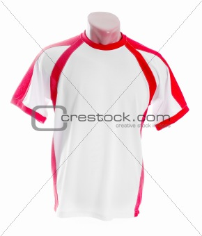 White t-shirt with red insets