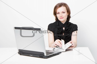 business attractive girl with a laptop