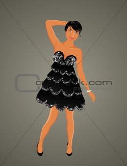 beautiful girl dancing isolated