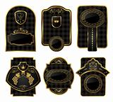 set black-gold decorative frames