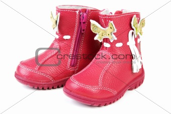 Pair red leather baby boots
