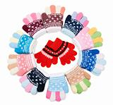 Baby colour knitted gloves