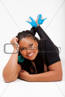 Beautiful African American lied on the floor