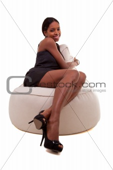 Attractive young african american woman smiling