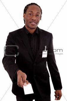 African American businessman giving a business card