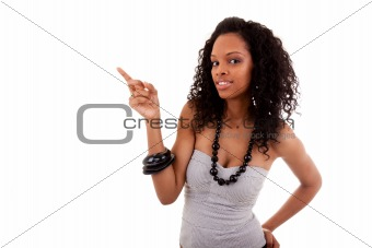smiley black woman showing something