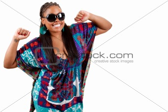 Portrait of beautiful young black woman dancing