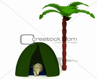 Puppet rest under green tent near palm