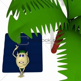 Laying puppet on blue matress under palm