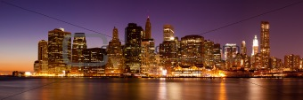 New York - Panoramic view of Manhattan Skyline by night
