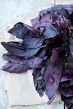 red purple basil on a wooden table