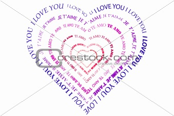"A heart made of words ""I love you"""