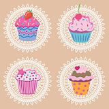 vector retro cupcakes
