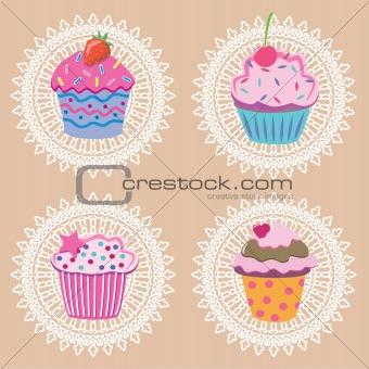 vector retro cupcakes