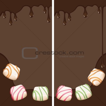 Banners with pralines and chocolate drops