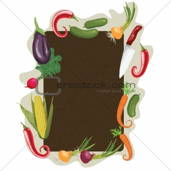Wood board with vegetable