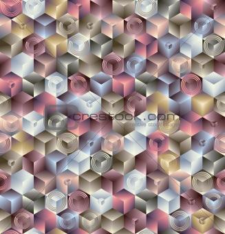 3d cubes geometric seamless pattern.
