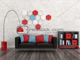 Interior of the modern room, white wall, black sofa