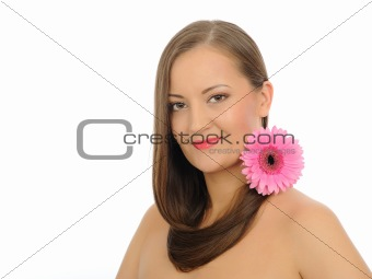 Beautiful woman with long healthy hair and pure skin