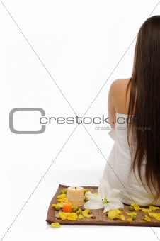 Beautiful woman with long healthy straight hair