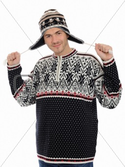 expressions. Funny winter man in warm hat and clothes. isolated