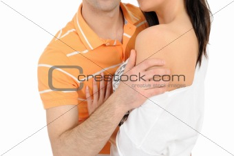 Body parts.couple hugging and touching each other