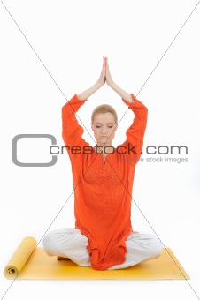 series or yoga photos. young meditating woman