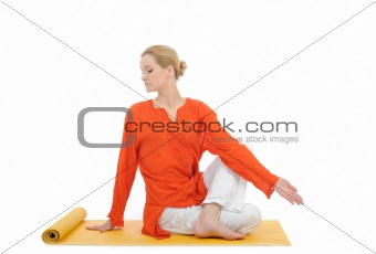 series or yoga photos. young woman doing yoga pose