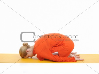 series or yoga photos. young woman in pranam pose
