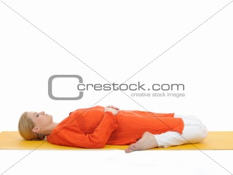 series or yoga photos. young woman in subtavirasana pose