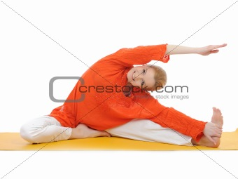 series or yoga photos. young woman streching