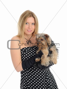 Beautiful girl with small cute york terrier dog. isolated
