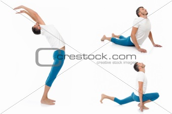 Group of photos of handsome active man doing yoga fitness poses.