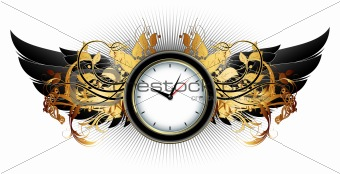 clock frame with floral elements