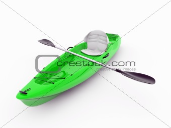 green kayak isolated on white background