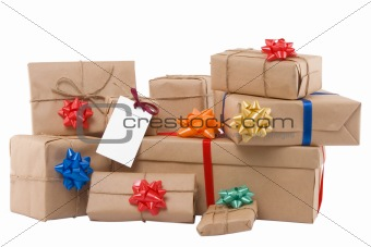 gift boxes with ribbon and blank label