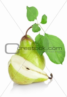 Green pears with green leaves