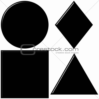 3d black shapes with reflection