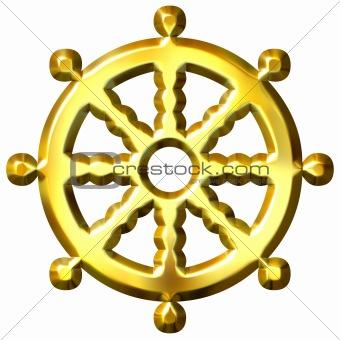 3D Golden Buddhism Symbol Wheel of Dharma